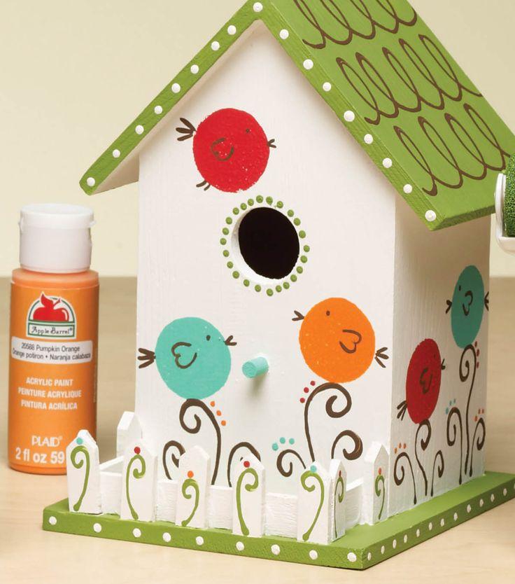 White Birdhouse with Birds | JoAnn Fabric and Craft Stores  http://www.joann.com/white-birdhouse-with-birds/3742819P101.html#prefn1=isProject&start=183&q=outdoor+decor&sz=54&prefv1=true&_a5y_p=2188329