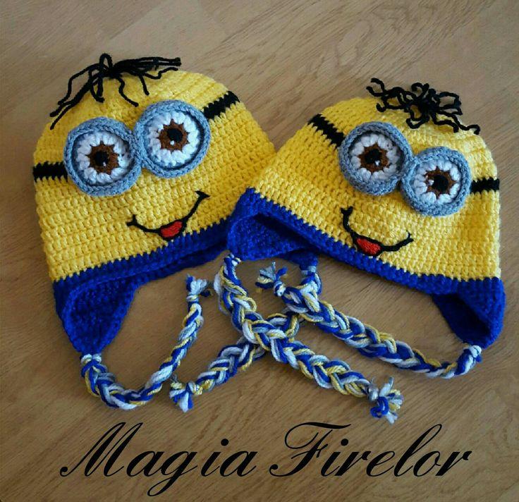 minions crochet hat, caciula crosetata minion