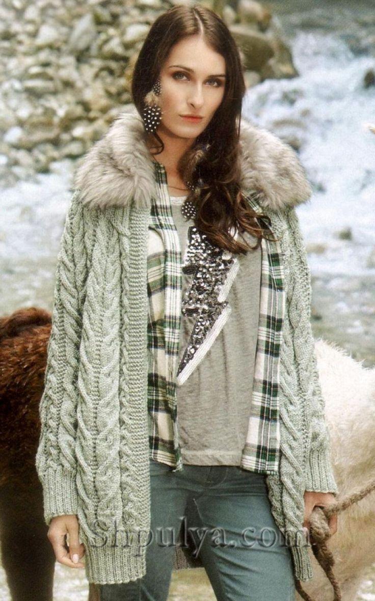 www.SHPULYA.com - Вязаная куртка с меховым воротником