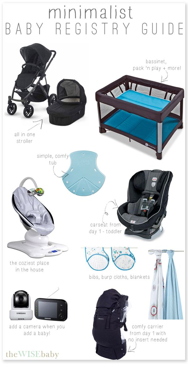 "The Minimalist Baby Registry Guide - designed to keep ""gear"" to a minimum!"