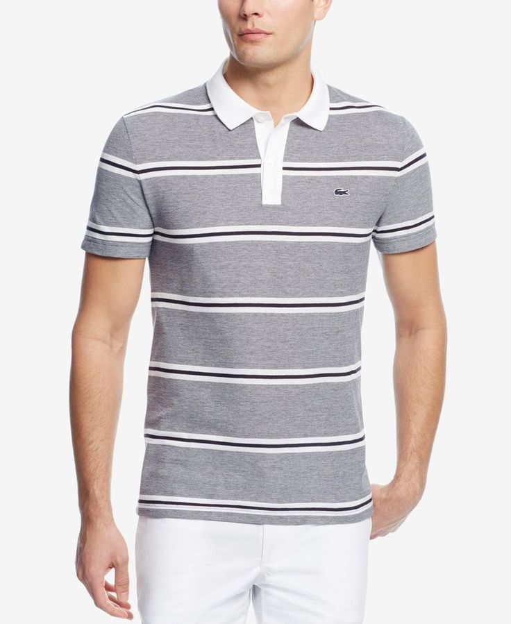 Polish your sporty casual look with this piquA polo from Lacoste, featuring  a comfortable fit and a fresh horizontal-stripe pattern.
