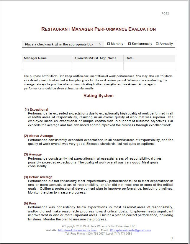 Restaurant Manager Performance Evaluation Form KPI