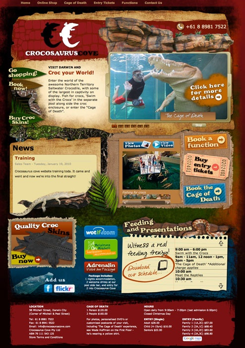 Crocosaurus Cove website by Captovate, Darwin