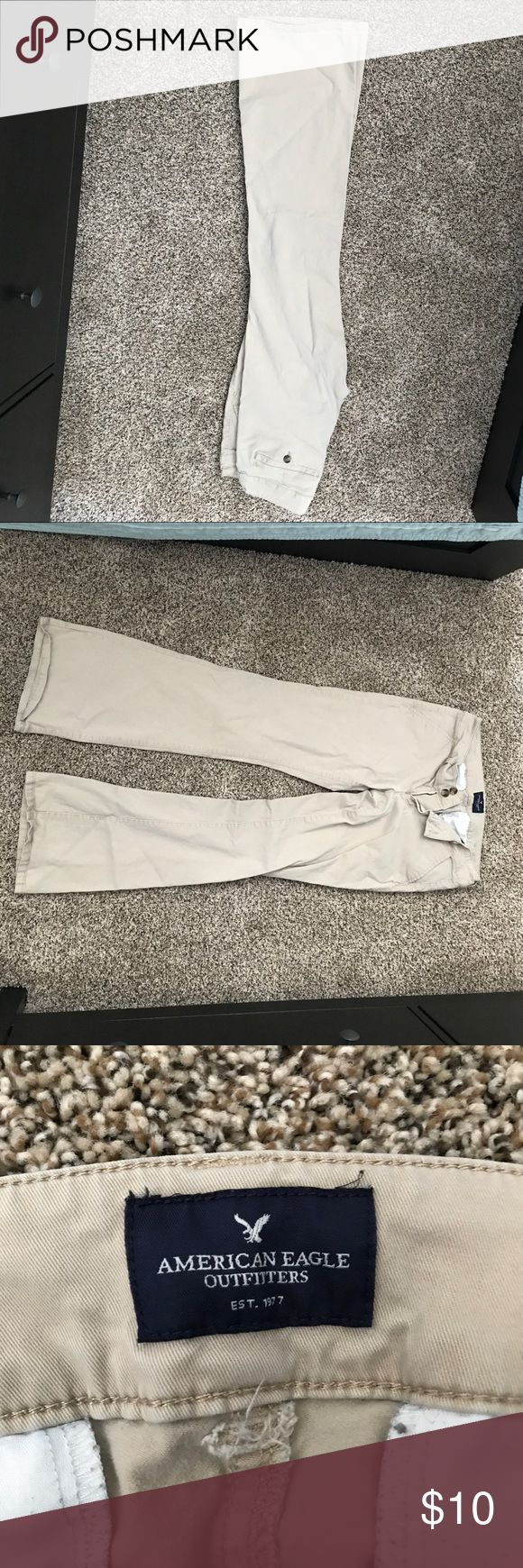 American Eagle Khaki Pants. Size 6 American Eagle Khaki pants size 6. Worn only a couple of times. No tears or stains. In really good shape. Breathable fabric. Perfect for Teachers or business casual attire. Abercrombie & Fitch Pants Trousers