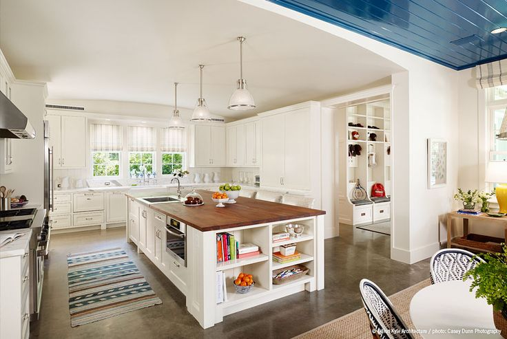 white kitchenMudroom, Polish Concrete, Dreams Kitchens, Mud Room, Blue Ceilings, Islands, Open Kitchens, Concrete Floors, White Kitchens