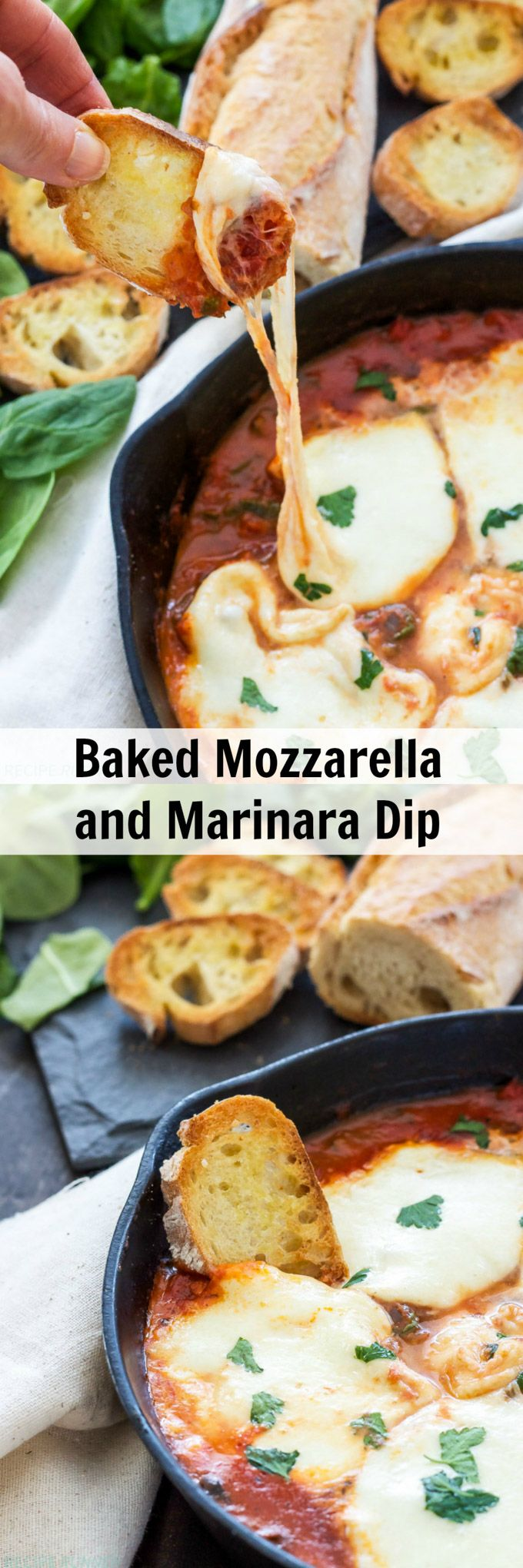 Baked Mozzarella and Marinara Dip | Marinara sauce, spinach and fresh mozzarella cheese are all you need to make this easy three ingredient Baked Mozzarella and Marinara Dip!