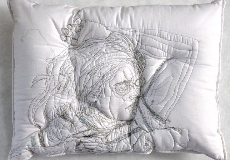 Sleeping People Embroidered Onto Handmade Pillows by Maryam Ashkanian | Colossal