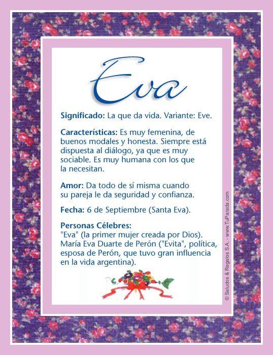 Eva, significado de Eva, origen de Eva, nombres para bebés. Puedes enviar por email, compartir o imprimir nombres, nombres para niños en español
