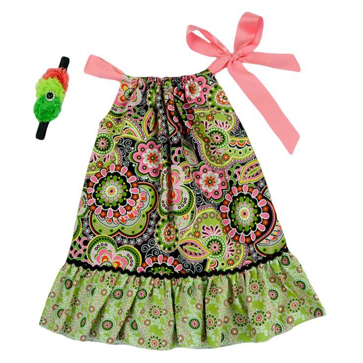 Green \u0026 Pink Paisley Pillowcase Dress \u0026 Headband