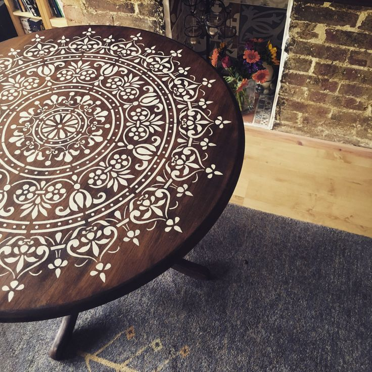 Stencilled Round Dinning & Kitchen Table by Becca Nye Designs on Etsy