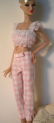 "Pink Ruffle Crop Top Gingham Capri Pants for All 16"" Fashion Dolls Samihart 