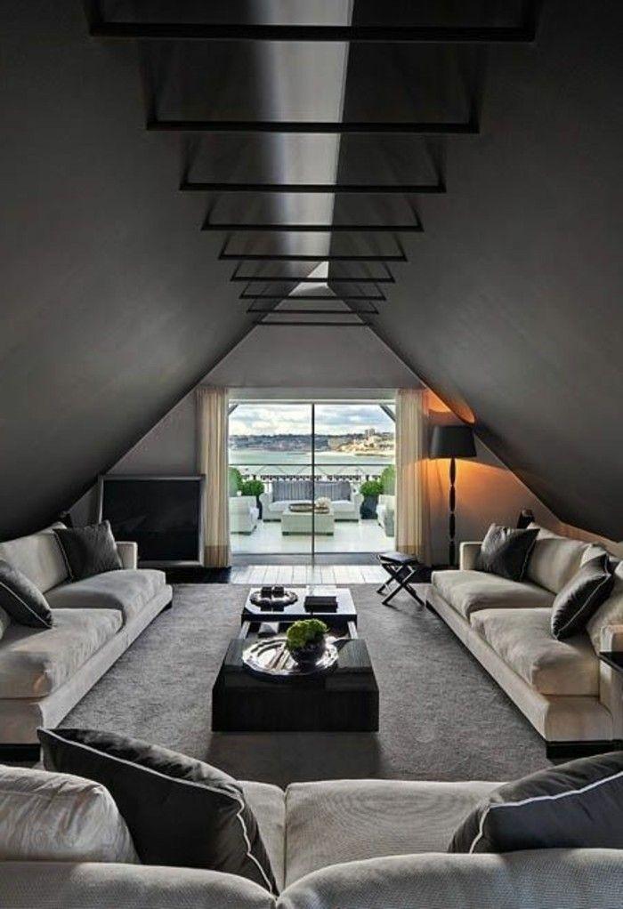 salon moderne gris salle de sjour originale avec puits de lumire - Salon Moderne Gris