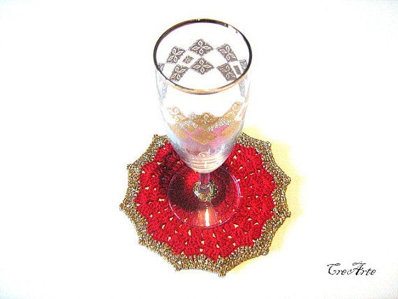 Crochet Coasters Red and Gold Coasters Christmas by CreArtebyPatty