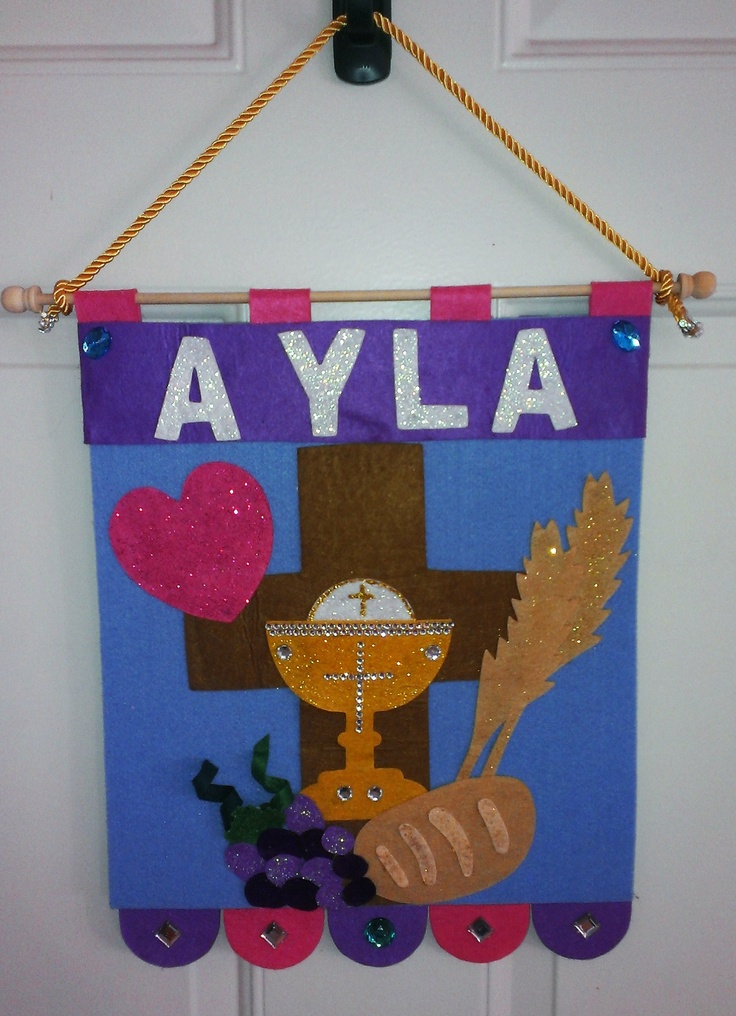 First Communion Banner Kit creation from Saint Patrick's Guild. Added lots of glitter glue and gems!