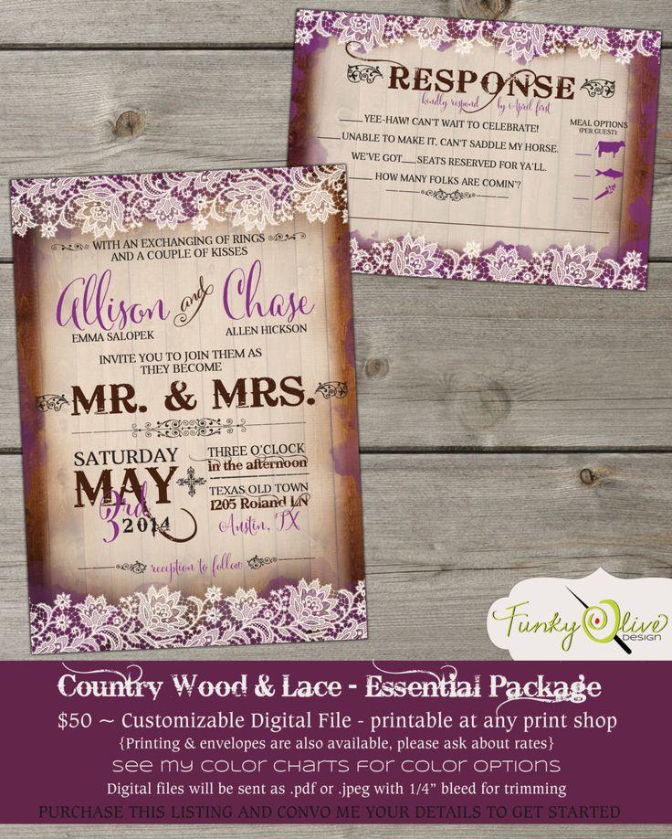 realtree wedding invitations%0A Country Wood  u     Lace Wedding Invitation Bold  Modern  Typography  Shabby  Chic  Fun