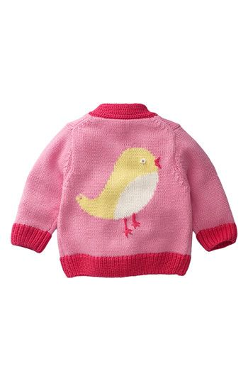 A V-neck cardigan with chick pattern on the back.  Adorable.