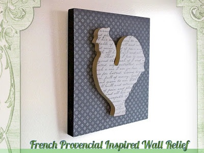 French Provincial Rooster Wall relief  ~Gave me the idea: take a canvas put chicken wire on ..spray with gray spraypaint /decopage yellow printed paper onto chicken cutout/attach =cute!