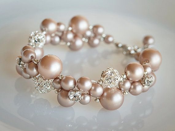 Bridal Bracelet, Crystal and Pearl Cluster Wedding Bracelet, Statement Bridal Jewelry, Swarovski Braclet Cuff, Mondern Vintage Style, KRISTY on Etsy, $79.00