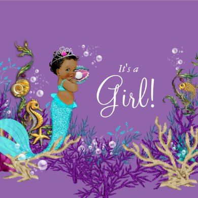 African American Mermaid Baby Shower Banner Zazzle Com