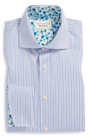 Ted Baker London 'Takeley' Trim Fit Stripe French Cuff Dress Shirt