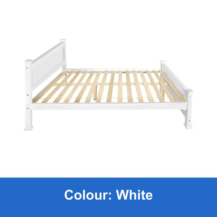 New Wooden Double Bed Frame White Solid Pine Wood Timber Slats