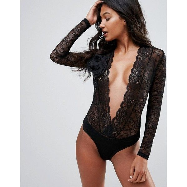 Ann Summers Vegas Lace Long Sleeve Body ($26) ❤ liked on Polyvore featuring intimates, black, balconette bra, lace lingerie, balcony bra, ann summers lingerie and lace shelf bra