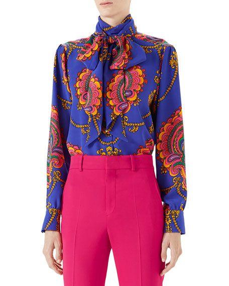 3335d1c8f03d6f 70s Graphic-Print Silk Shirt | Chic Splendor Shopping List | Gucci ...