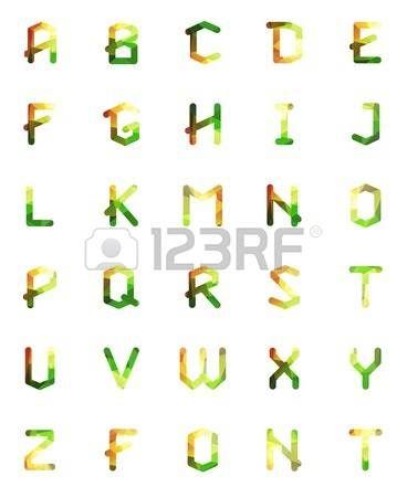 Fuente geométrica poligonal. Alfabeto Creativo. Set tipográfico