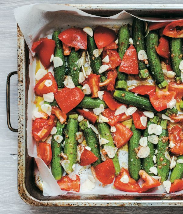 Sabrina Ghayour Persian recipes - mint cucumber yoghurt & Roasted courgettes with garlic & tomatoes