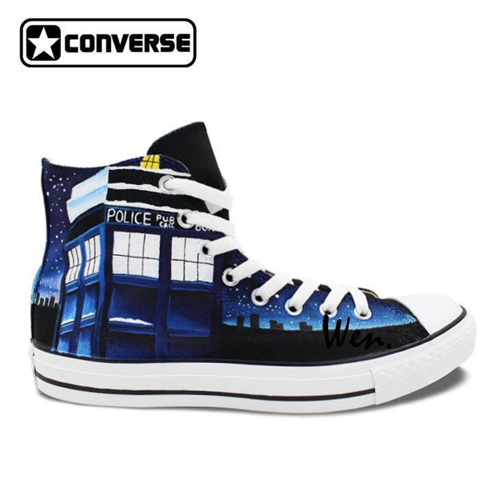 Design Custom Hand Painted Shoes Converse Chuck Taylor Galaxy Police Box Mens Womens High Top Canvas. Click visit to buy #Skateboarding #Shoes