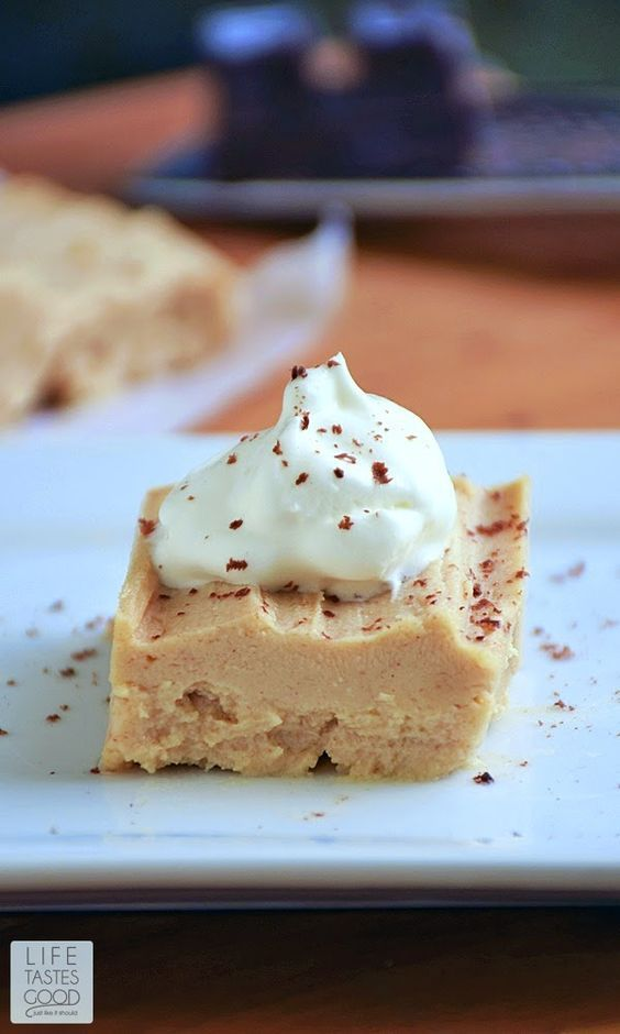 Just 3 ingredients, no-bake, and low carb too! This Peanut Butter Pie   by Life Tastes Good is a rich, creamy dessert that really satisfies when you want something sweet to eat.: