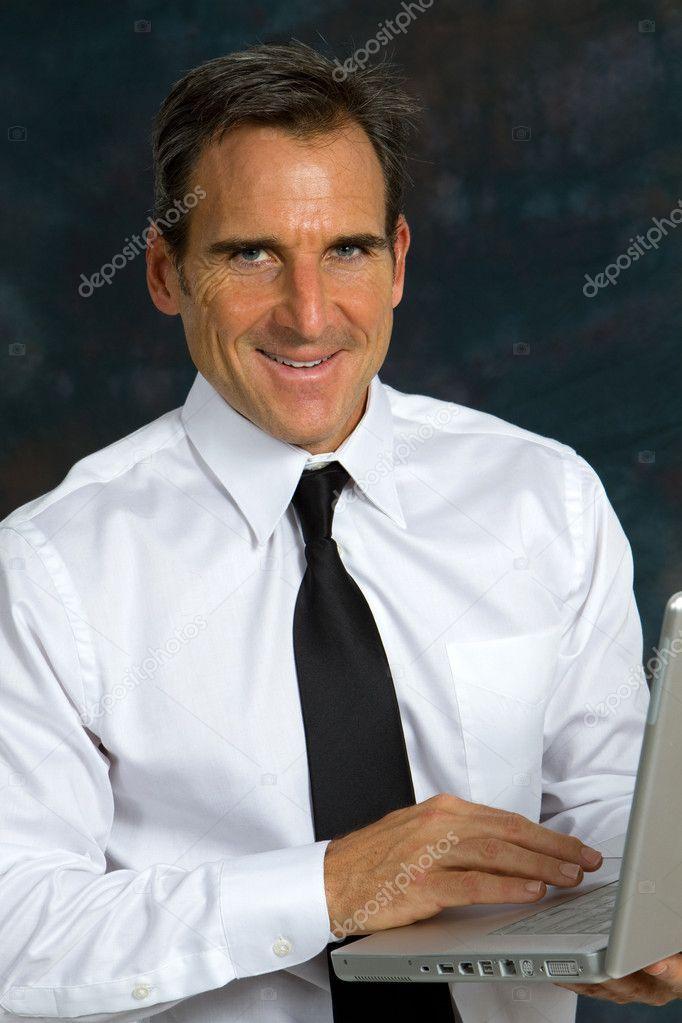 Happy Businessman Computer Stock Image Ad Businessman Happy