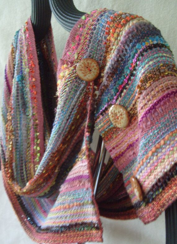 Handwoven Buttoned Scarf Wrap Painted Desert by barefootweaver