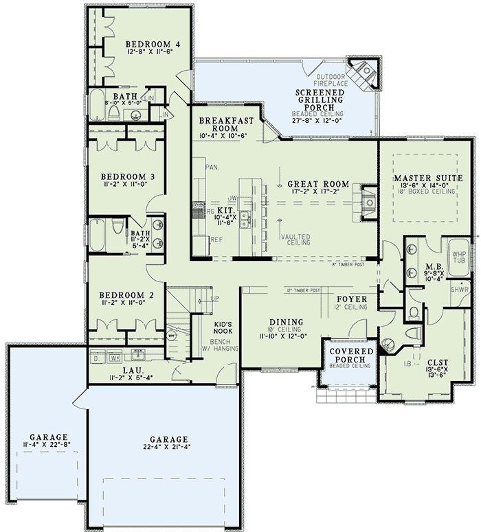 Rustic European Home Plan - 60608ND floor plan - Main Level