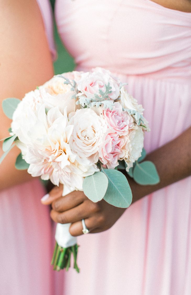 Blush Dahlia and Pink Lisianthus Bouquet | Brave Blooms | Union Station | Brianna Wilbur Photography https://www.theknot.com/marketplace/brianna-wilbur-photography-mechanicsburg-pa-766121