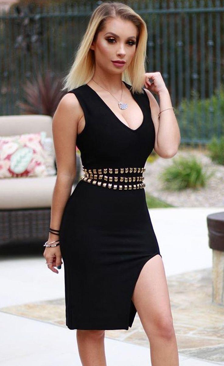 Bandage bodycon dresses 0 celebrities 1639 get lucky extra 50 0 -  99 99 Blush Gold Accent Slit Bandage Dress