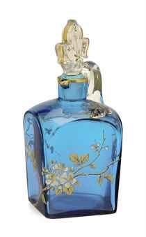 A CONTINENTAL ENAMELED BLUE GLASS DECANTER AND STOPPER,  POSSIBLY BACCARAT, 19TH CENTURY