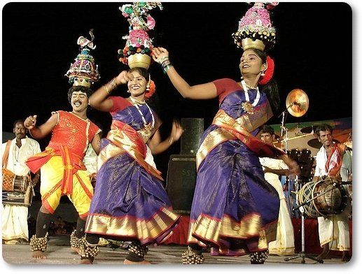 Karagattam-Folk-Dance with Music.Tamil Nadu has a large number of folk dances. Karagattam, one of the oldest types of folk dance in Tamil Nadu, summarizes the prototypical art of praising the Goddesses with fine balancing of decorated pots. There are Two types of Karagattam - Sakthi Karagam and Atta Karagam.