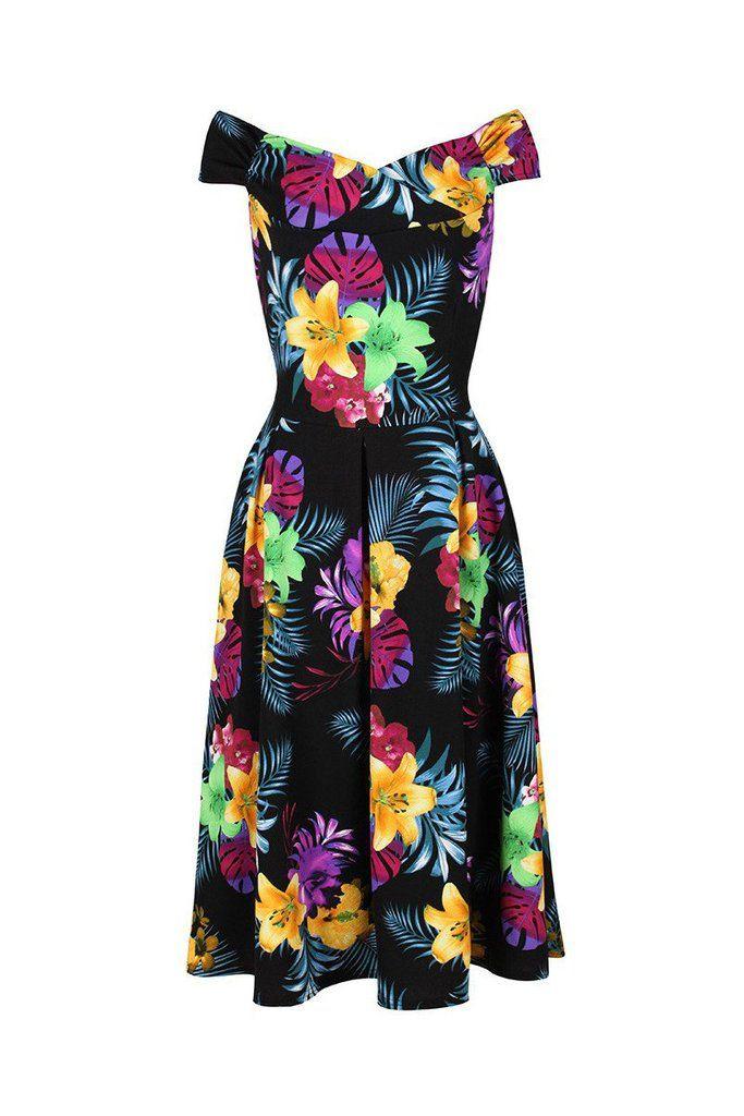 Black Floral Print Crossover Bardot 50s Swing Dress