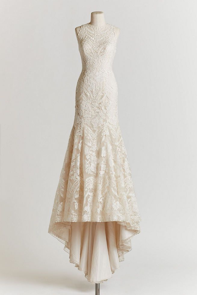 Vintage Wedding Dress: the figure hugging Adalynn gown with mermaid skirt, made from embroidered organaza, is vintage-inspired elegance at its finest!