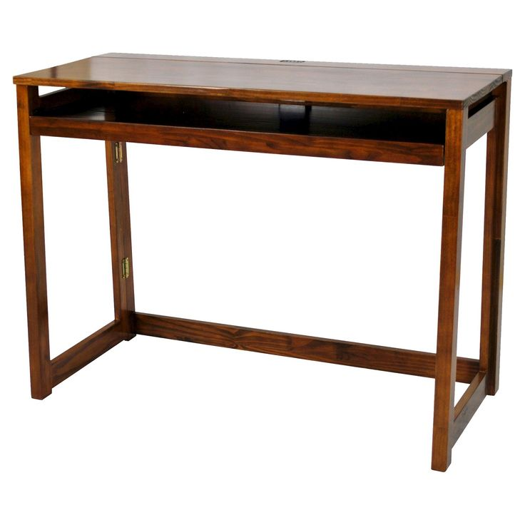 YuShan Folding Computer Desk with 4 Port Usb Charging Station Walnut (Brown) - Casual Home