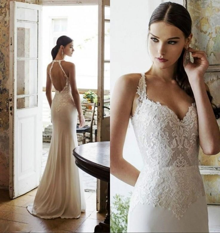 Simple Ankle Length Lace Wedding Dresses White Three: Sheath Cap Sleeves Backless Floor Length Simple Lace