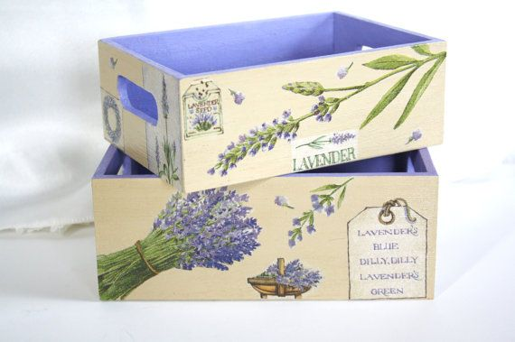 Two decoupage nesting trays lavender purple and sand by CatHot