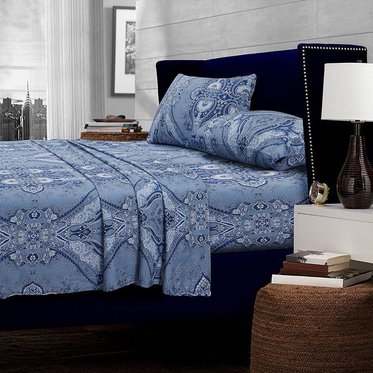 Blue Color Twin Oversized Flat Paisley Printed Extra Deep Pocket Sheet Set Navy Teen Bedding Kids Bedroom Mandala Classic Contemporary Transitional
