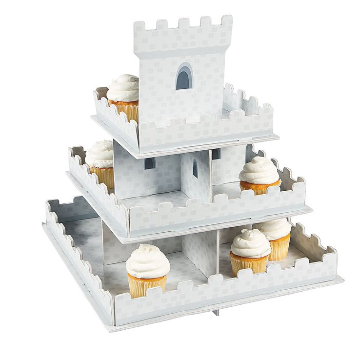 Knight's Kingdom Cupcake Display - OrientalTrading.com $8.50, would probably need two of these. one for the boys cupcakes and one for the girl cupcakes