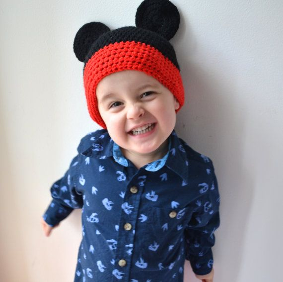 Boys Mickey Mouse Crochet Beanie by LittleFoxCrochet on Etsy