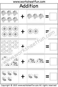 Picture Addition – Beginner Addition – 10 Kindergarten Addition Worksheets