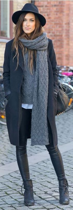 I love these leather leggings paired with the black wool coat and fedora!