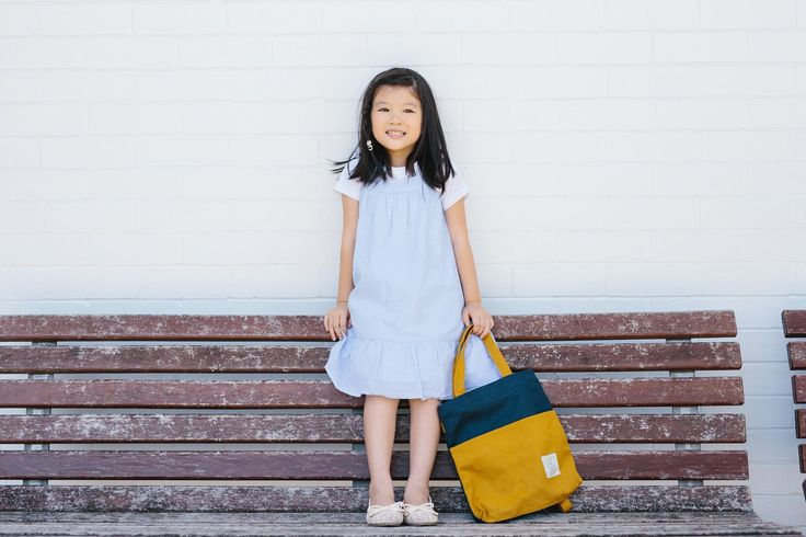 Navy & Mustard Traveller Basic Backpack in Mini (for our little people)