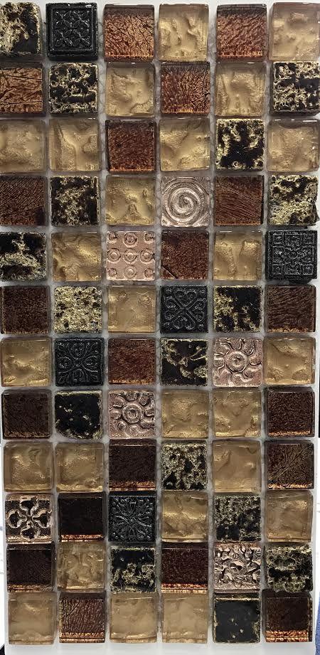 Εμφάνιση  λεπτομερειών Mosaico Mix Golden 30x30 Ψηφίδα Χρυσό , Καφέ , Ροζ Χρυσό με Γυαλί σε δίχτυ